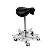 30462 Operation stool, foot operated, swivel castors, saddle seat